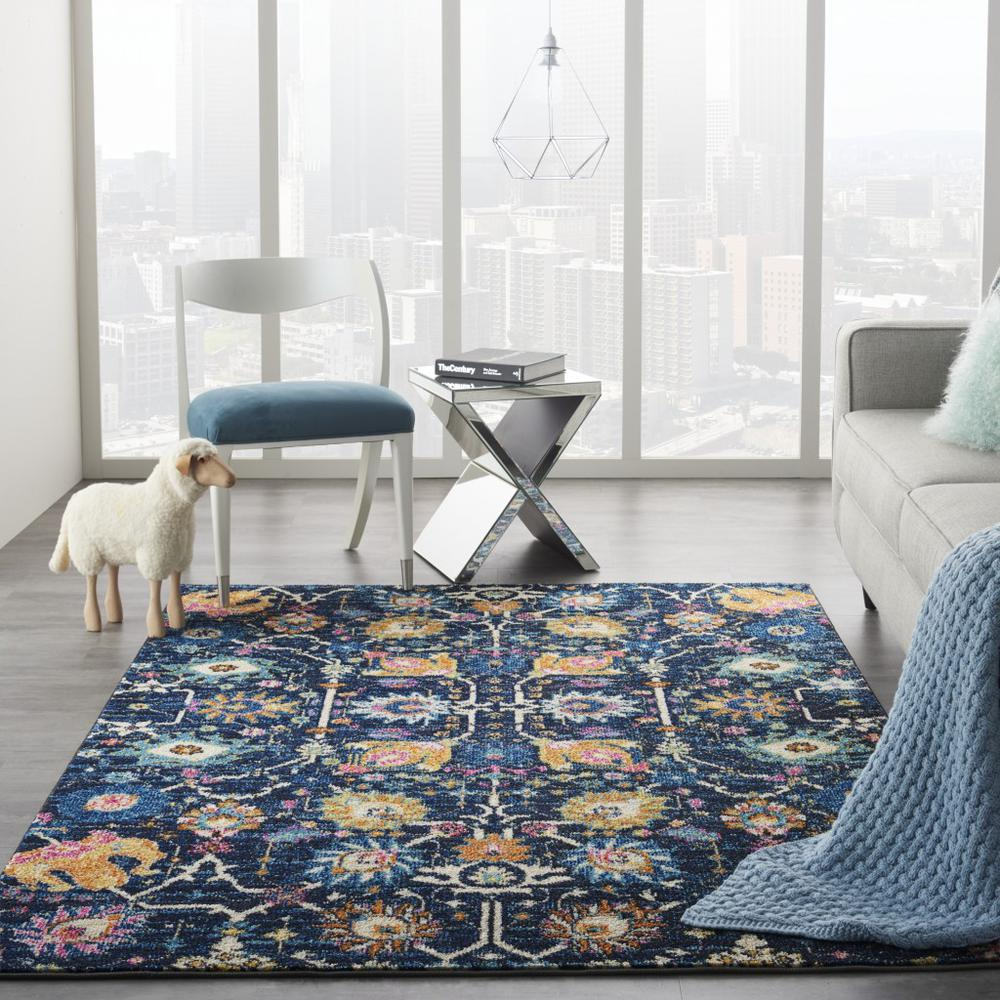 5' x 7' Navy Blue Floral Buds Area Rug - 385229. Picture 4