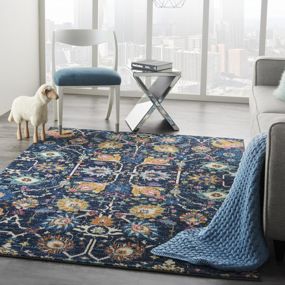 5' x 7' Navy Blue Floral Buds Area Rug - 385229. Picture 6