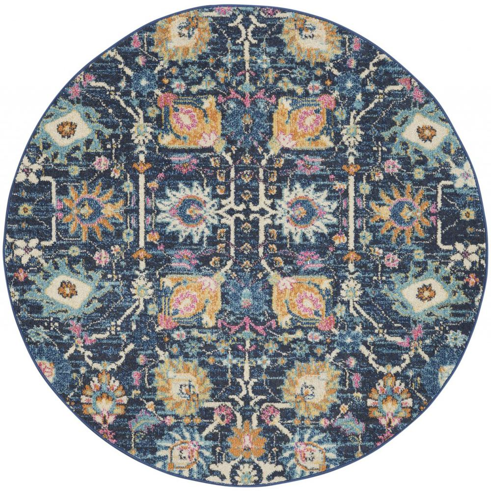 5' Round Navy Blue Floral Buds Area Rug - 385237. Picture 1