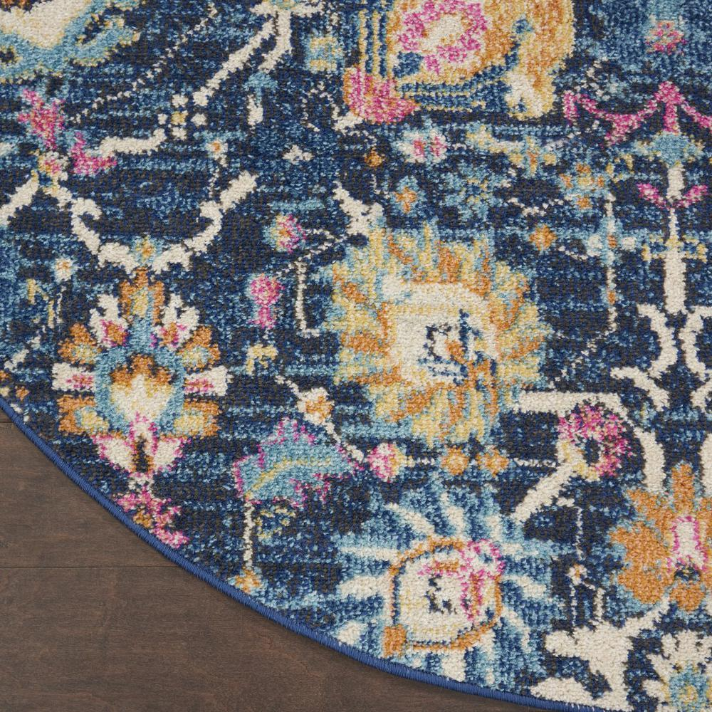5' Round Navy Blue Floral Buds Area Rug - 385237. Picture 2