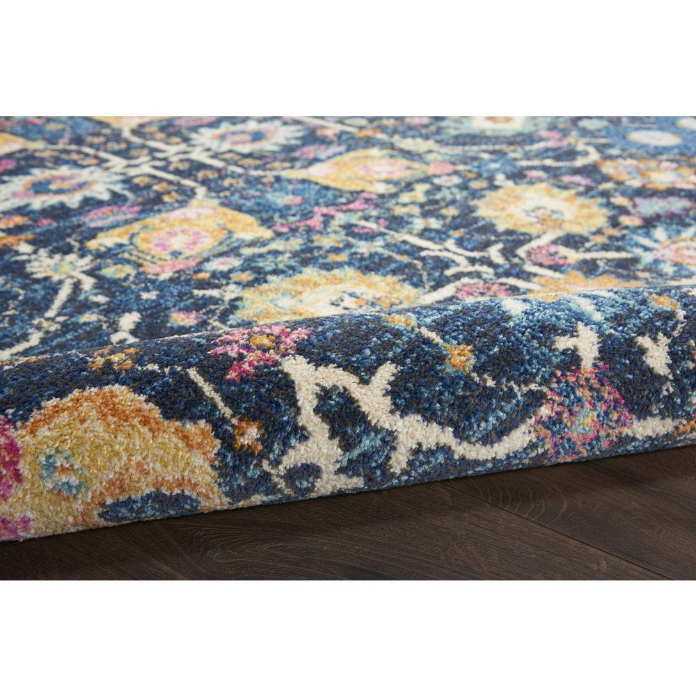 5' Round Navy Blue Floral Buds Area Rug - 385237. Picture 3