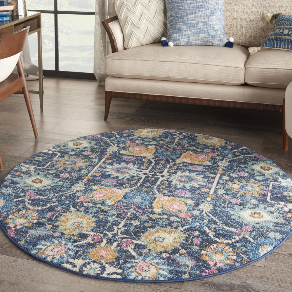 5' Round Navy Blue Floral Buds Area Rug - 385237. Picture 4