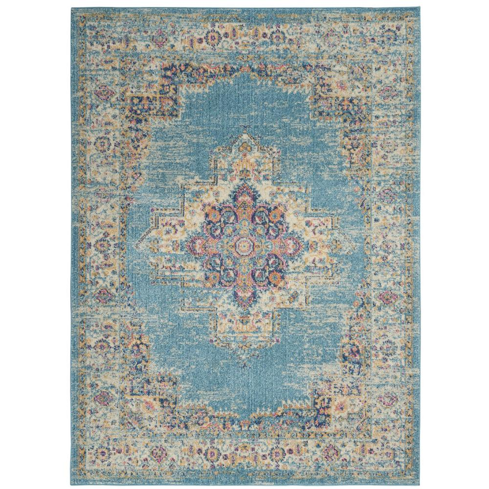 5'x7' Light Blue Distressed Medallion Area Rug - 385334. Picture 1