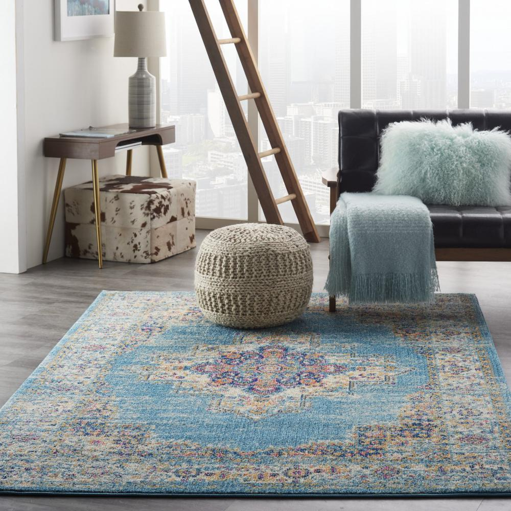 5'x7' Light Blue Distressed Medallion Area Rug - 385334. Picture 4