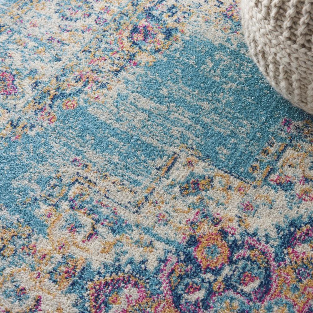 5'x7' Light Blue Distressed Medallion Area Rug - 385334. Picture 5