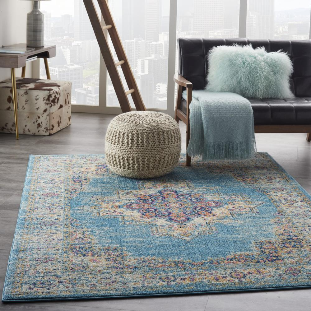 5'x7' Light Blue Distressed Medallion Area Rug - 385334. Picture 6