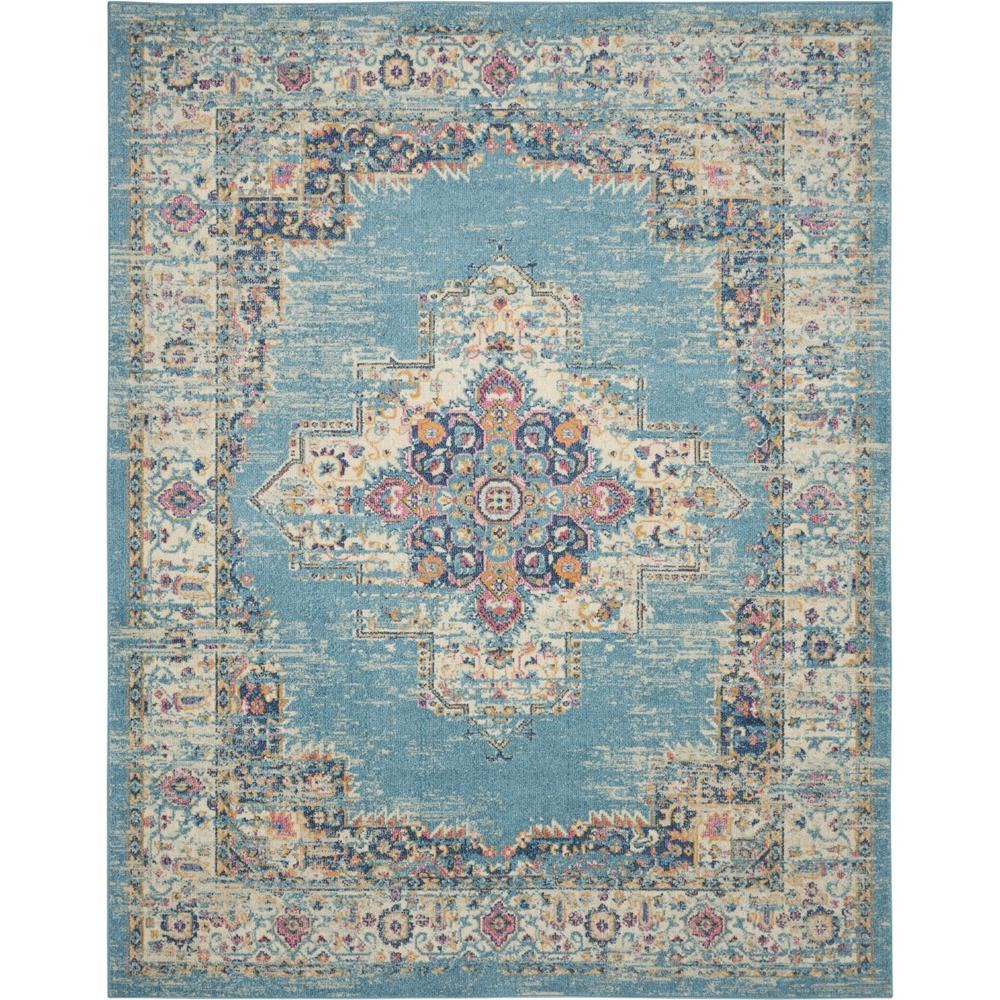7'x10' Light Blue Distressed Medallion Area Rug - 385336. Picture 1