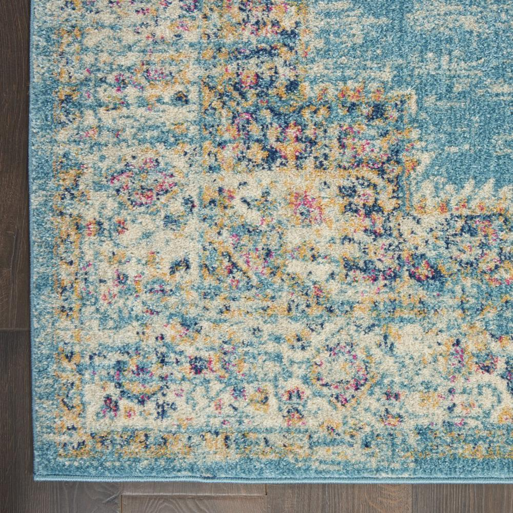 7'x10' Light Blue Distressed Medallion Area Rug - 385336. Picture 2