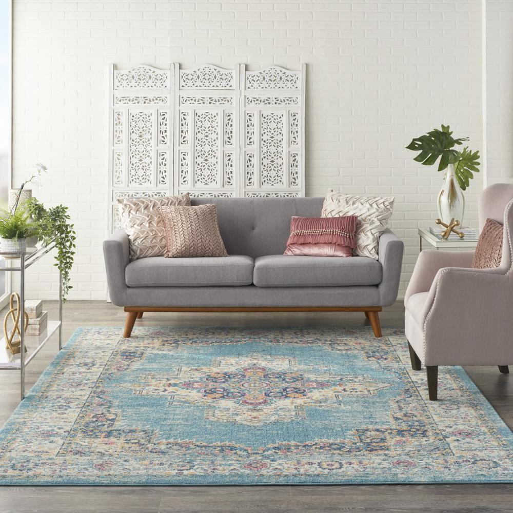 7'x10' Light Blue Distressed Medallion Area Rug - 385336. Picture 4