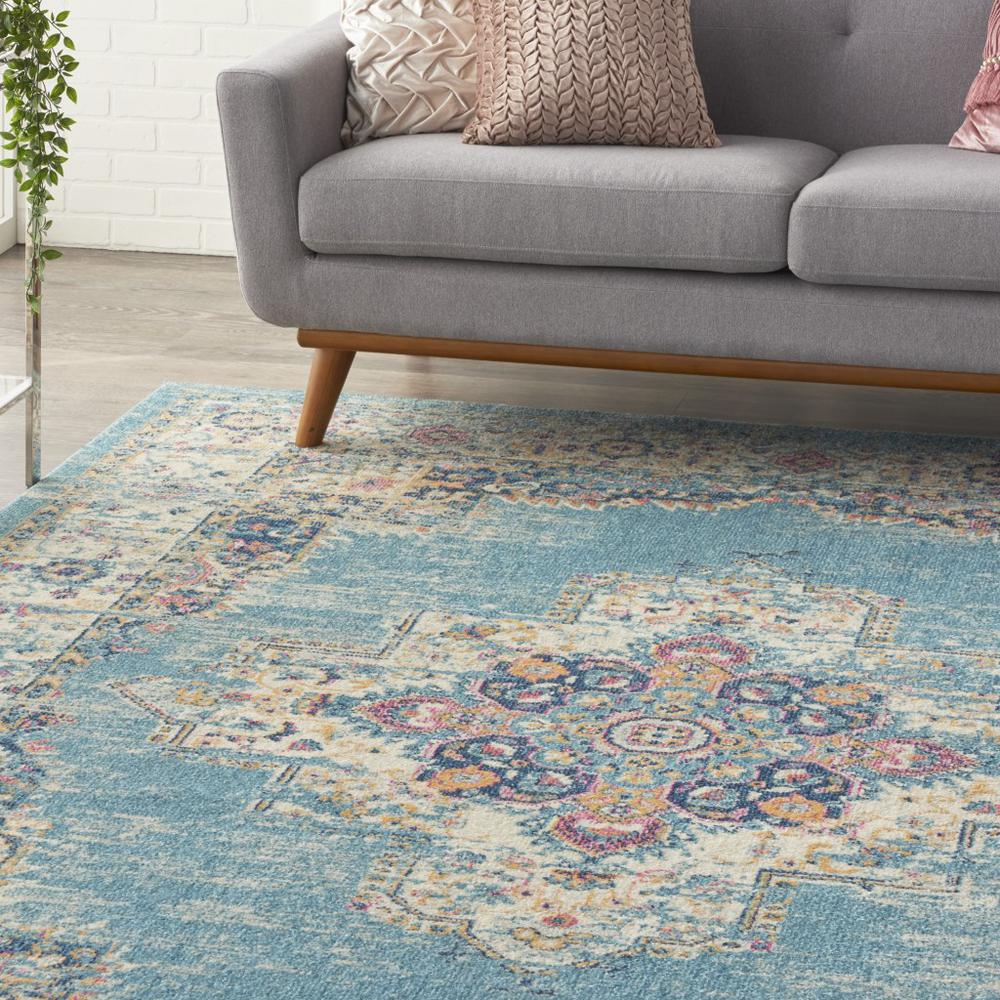 7'x10' Light Blue Distressed Medallion Area Rug - 385336. Picture 5