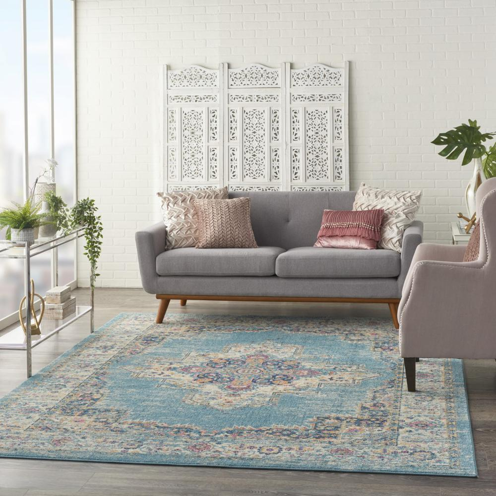 7'x10' Light Blue Distressed Medallion Area Rug - 385336. Picture 6