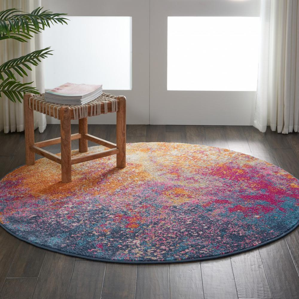 5' Round Abstract Brights Sunburst Area Rug - 385380. Picture 4