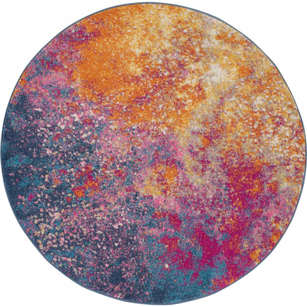 8' Round Abstract Brights Sunburst Area Rug - 385383. Picture 1