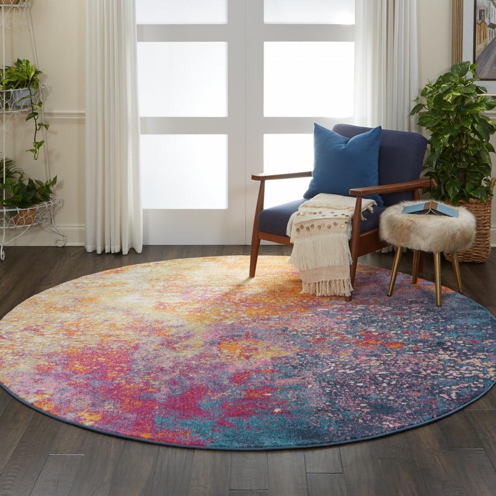 8' Round Abstract Brights Sunburst Area Rug - 385383. Picture 4