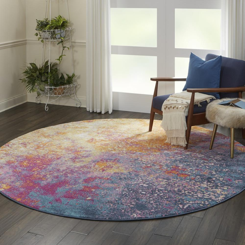 8' Round Abstract Brights Sunburst Area Rug - 385383. Picture 6