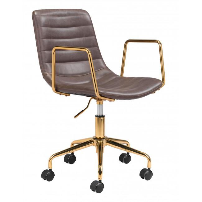 Brown and Gold Rolling Swivel Office Chair - 385446. Picture 1