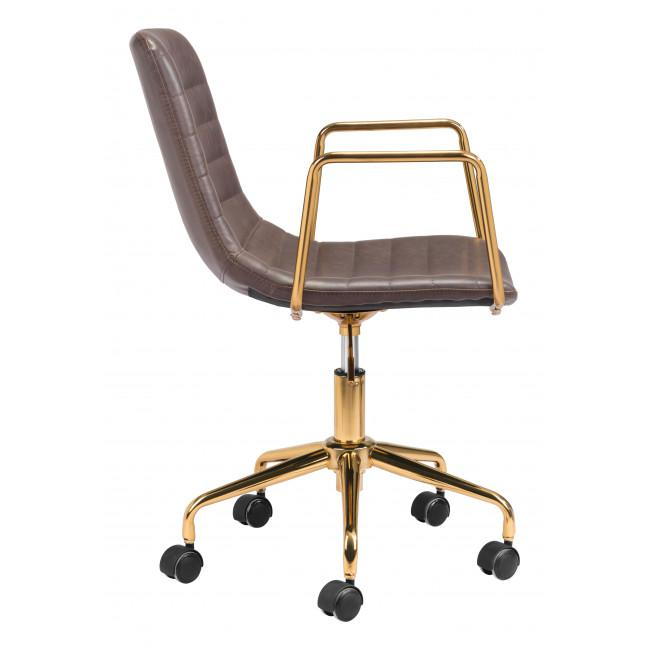 Brown and Gold Rolling Swivel Office Chair - 385446. Picture 2
