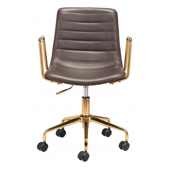 Brown and Gold Rolling Swivel Office Chair - 385446. Picture 3