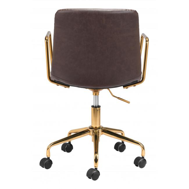 Brown and Gold Rolling Swivel Office Chair - 385446. Picture 4