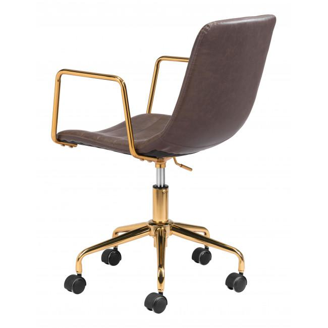Brown and Gold Rolling Swivel Office Chair - 385446. Picture 5