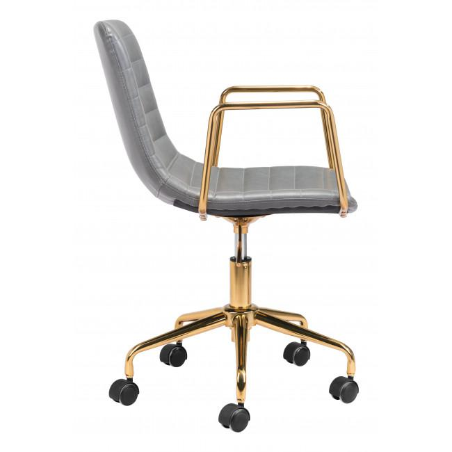Gray and Gold Rolling Swivel Office Chair - 385447. Picture 2
