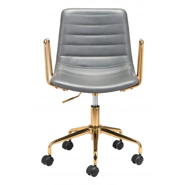 Gray and Gold Rolling Swivel Office Chair - 385447. Picture 3