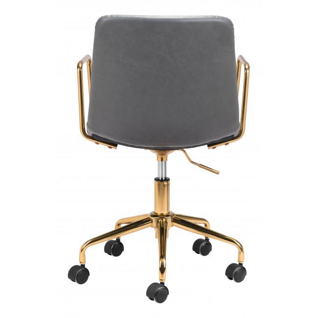 Gray and Gold Rolling Swivel Office Chair - 385447. Picture 4