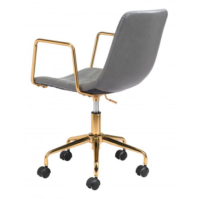 Gray and Gold Rolling Swivel Office Chair - 385447. Picture 5