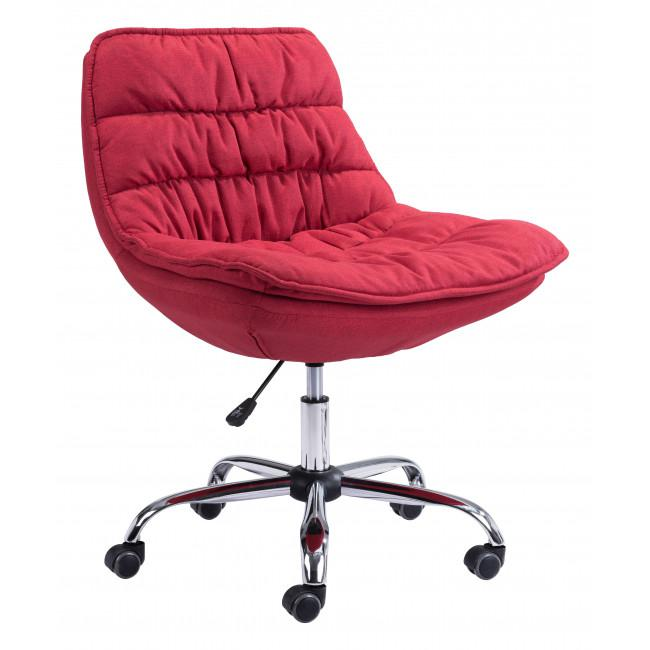 Red Plush Armless Rolling Office Chair - 385449. Picture 1