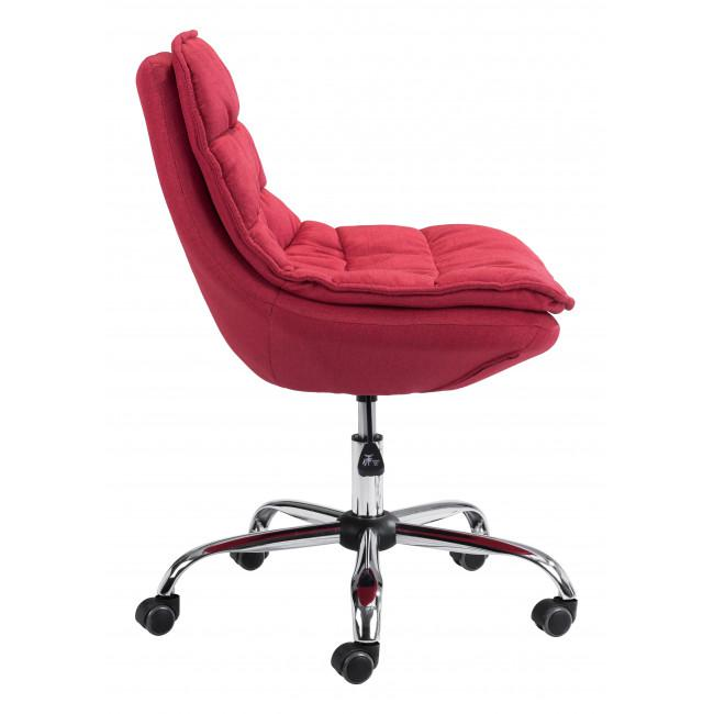 Red Plush Armless Rolling Office Chair - 385449. Picture 2