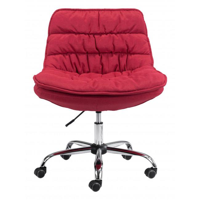 Red Plush Armless Rolling Office Chair - 385449. Picture 3