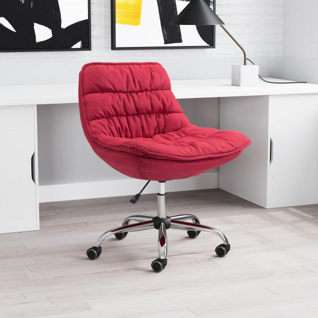 Red Plush Armless Rolling Office Chair - 385449. Picture 8