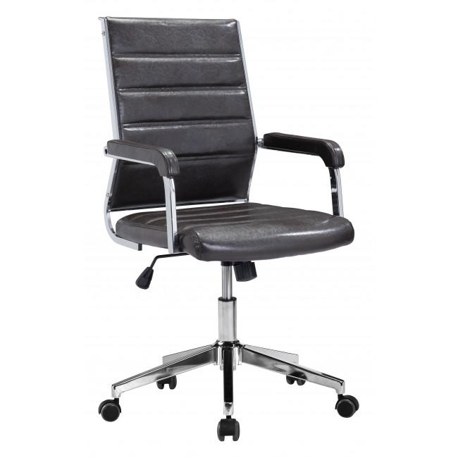 Brown Channeled Faux Leather Rolling Office Chair - 385454. Picture 1