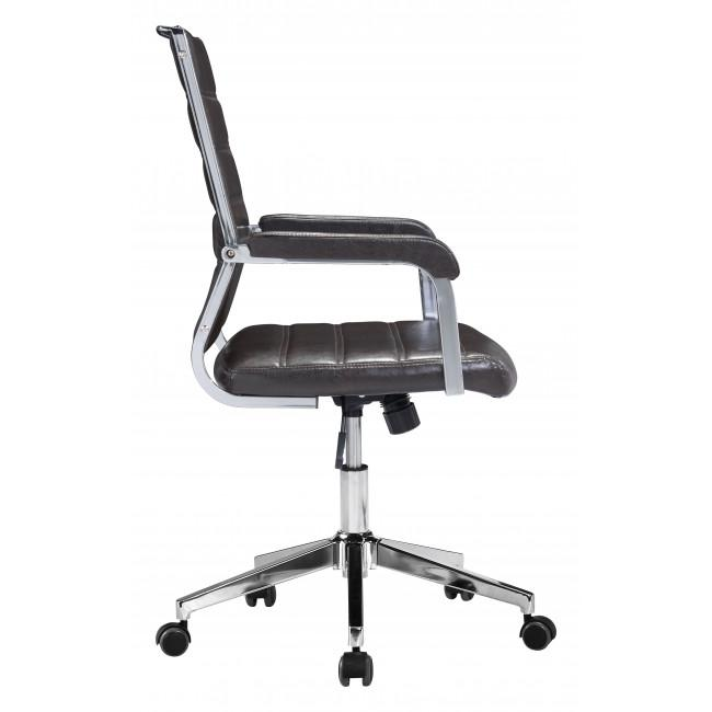 Brown Channeled Faux Leather Rolling Office Chair - 385454. Picture 2