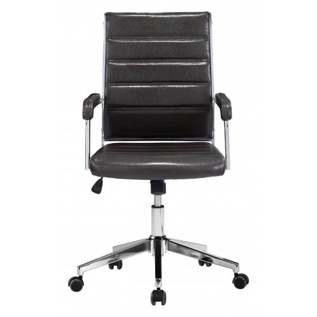 Brown Channeled Faux Leather Rolling Office Chair - 385454. Picture 3
