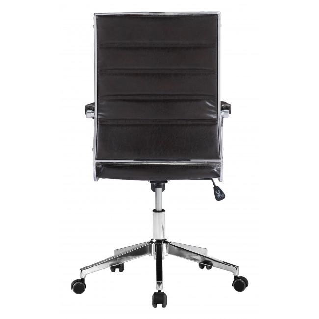 Brown Channeled Faux Leather Rolling Office Chair - 385454. Picture 4