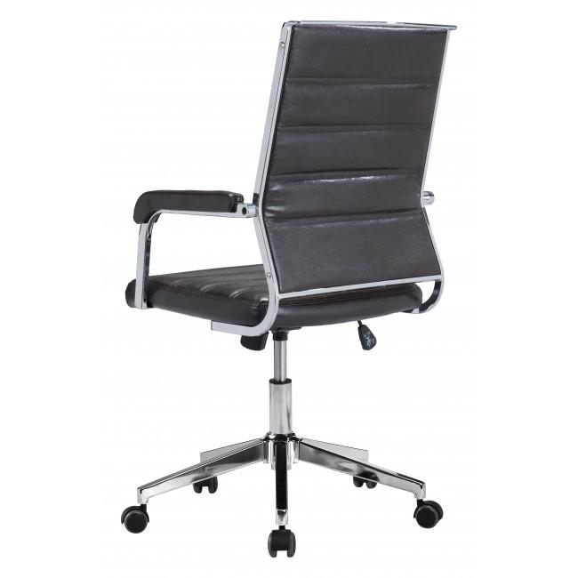 Brown Channeled Faux Leather Rolling Office Chair - 385454. Picture 5