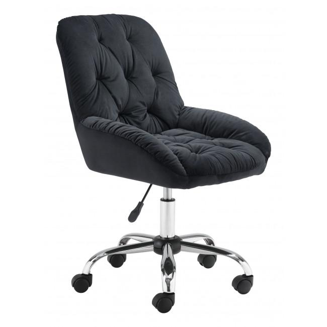 Extra Comfy Black Velvet Rolling Office Chair - 385456. Picture 1