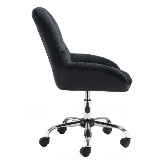 Extra Comfy Black Velvet Rolling Office Chair - 385456. Picture 2