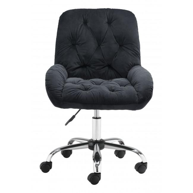 Extra Comfy Black Velvet Rolling Office Chair - 385456. Picture 3