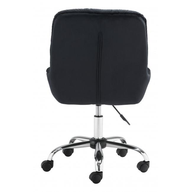 Extra Comfy Black Velvet Rolling Office Chair - 385456. Picture 4