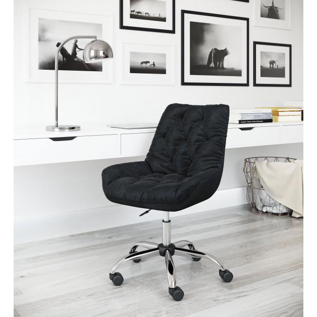 Extra Comfy Black Velvet Rolling Office Chair - 385456. Picture 9