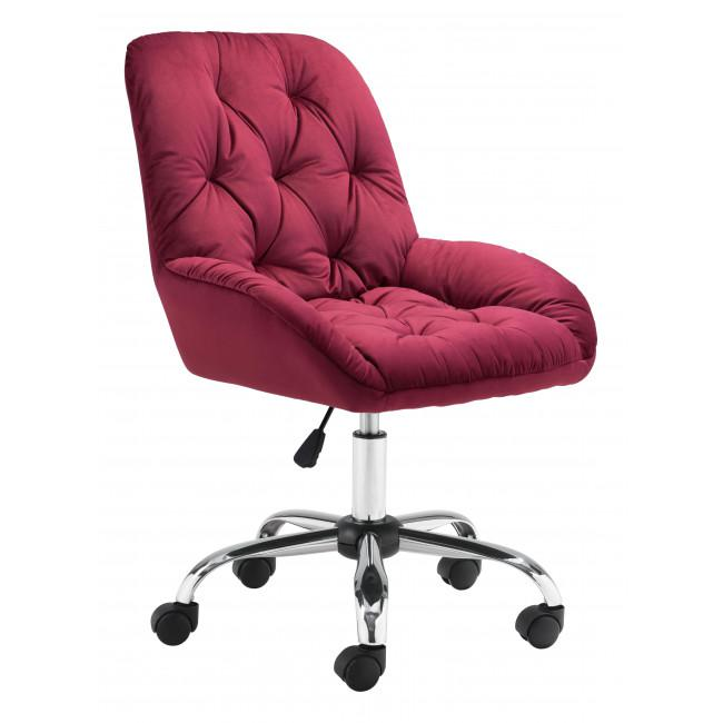 Extra Comfy Red Velvet Rolling Office Chair - 385458. Picture 1