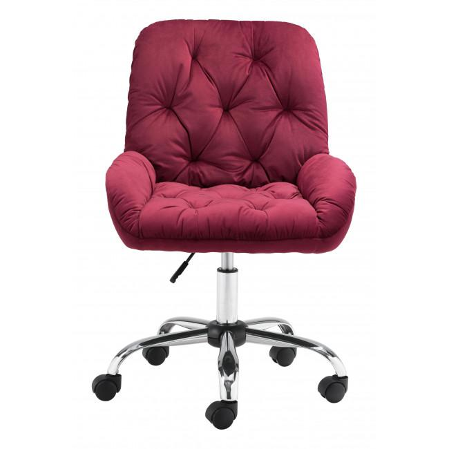 Extra Comfy Red Velvet Rolling Office Chair - 385458. Picture 3