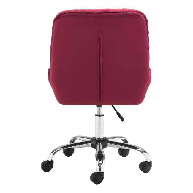 Extra Comfy Red Velvet Rolling Office Chair - 385458. Picture 4