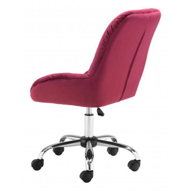 Extra Comfy Red Velvet Rolling Office Chair - 385458. Picture 5