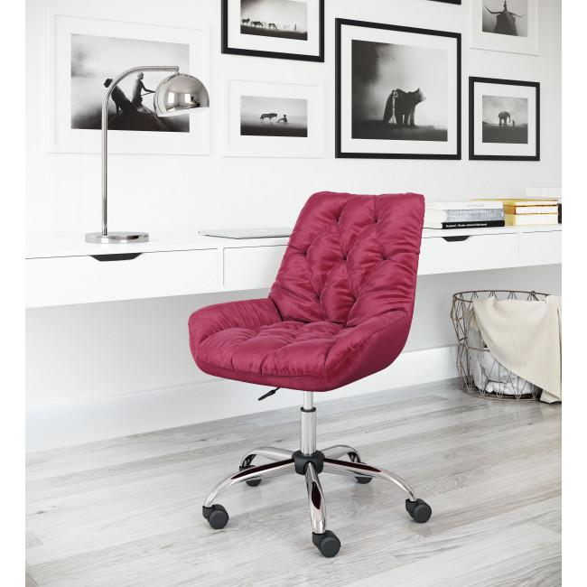Extra Comfy Red Velvet Rolling Office Chair - 385458. Picture 9