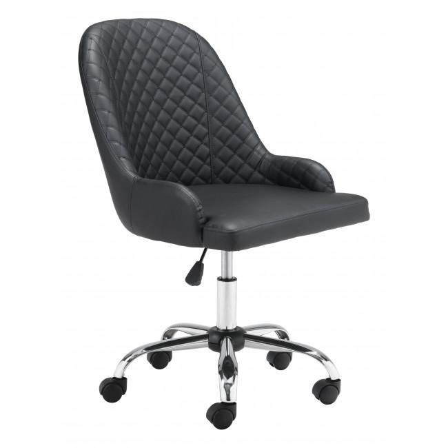 Black Quilted Back Faux Leather Swivel Office Chair - 385459. Picture 1