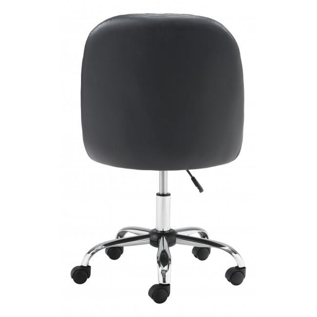 Black Quilted Back Faux Leather Swivel Office Chair - 385459. Picture 4