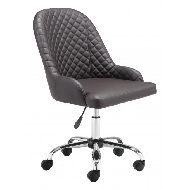 Brown Quilted Back Faux Leather Swivel Office Chair - 385460. Picture 1